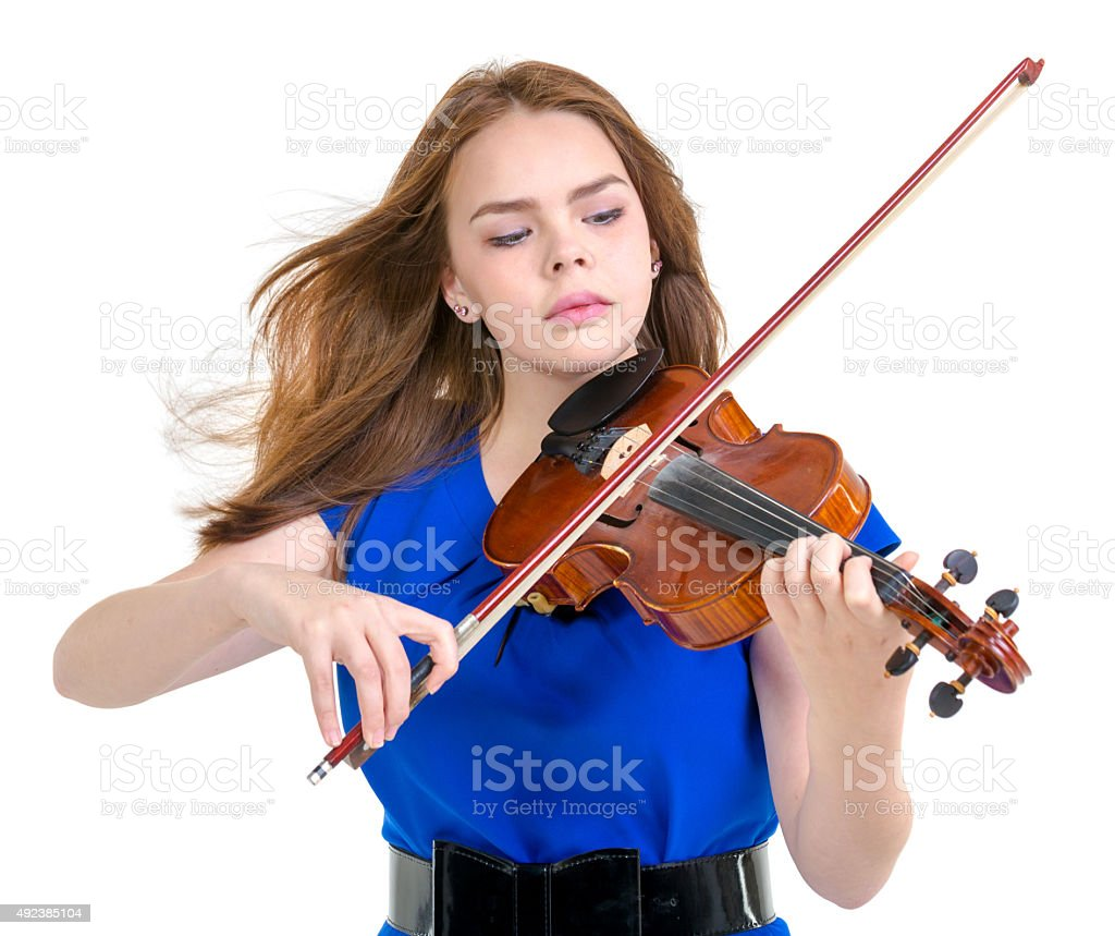 Inspired Playing Violin stock photo