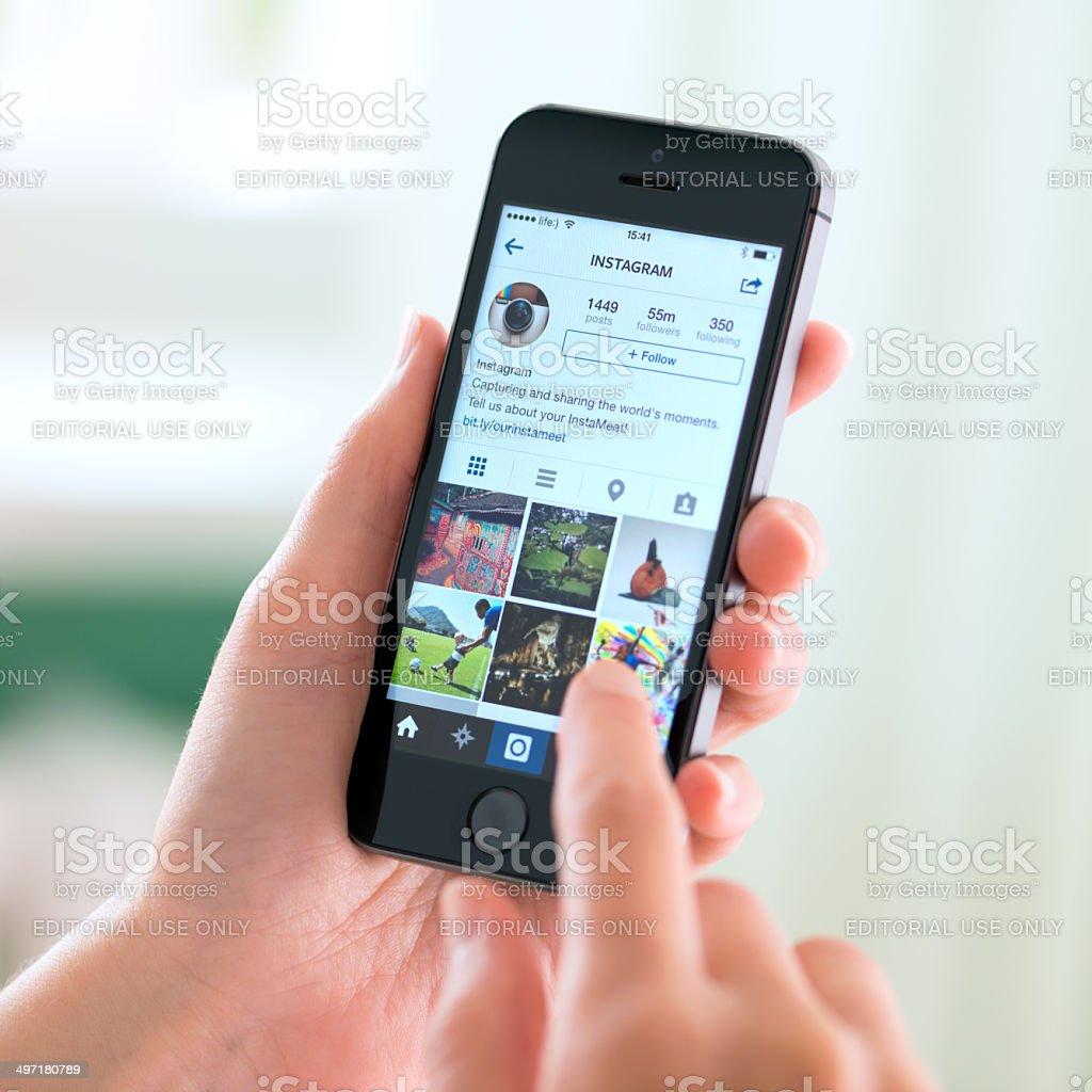 Instagram application on Apple iPhone 5S stock photo