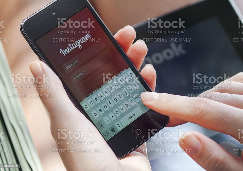 Instagram on an Iphone stock photo