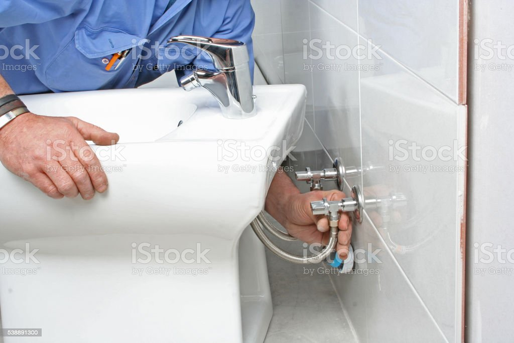 Install bidet stock photo