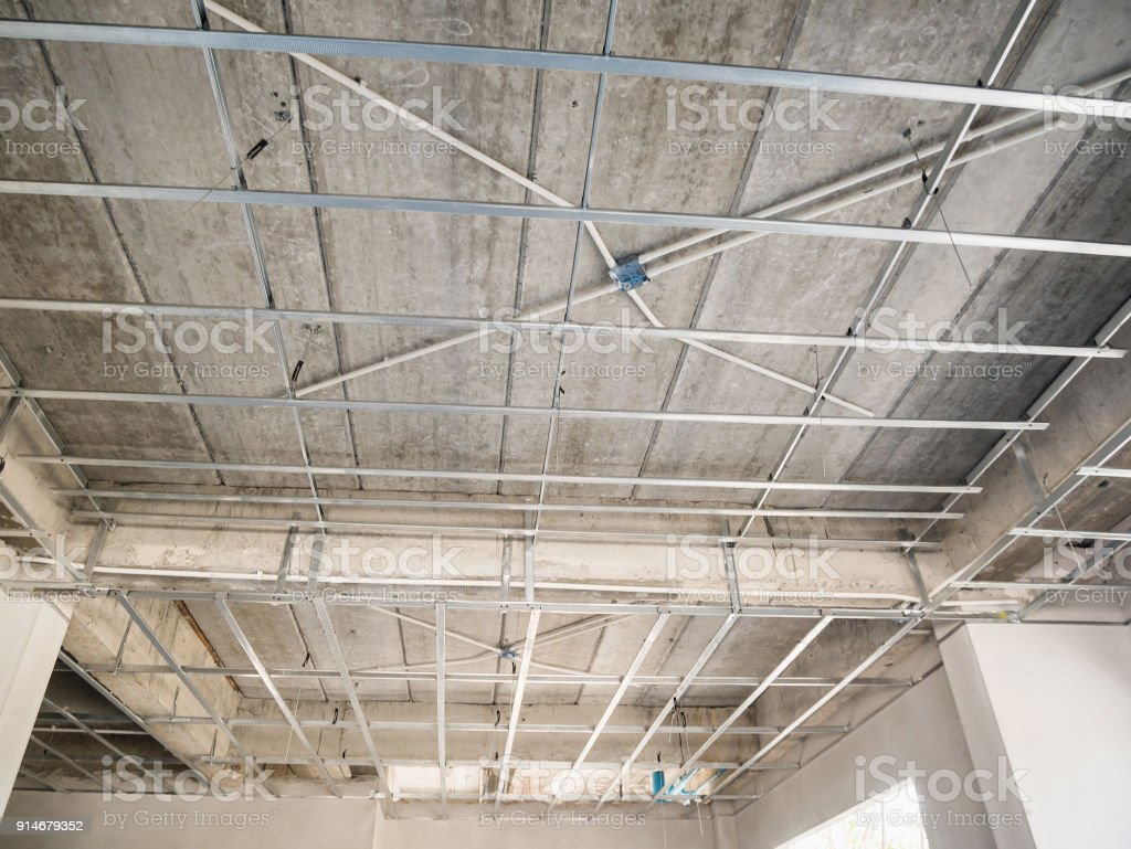 Install Metal Frame For Plaster Board Ceiling At House Under Wiring A Building Construction Royalty Free Stock Photo