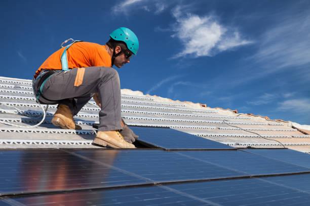 install solar panels stock photo