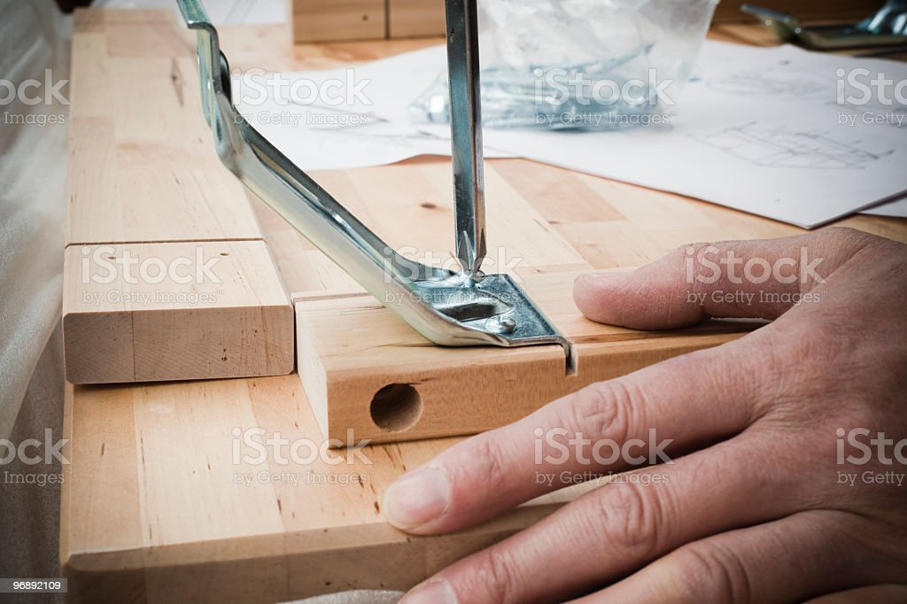 Install wooden furniture royalty-free stock photo