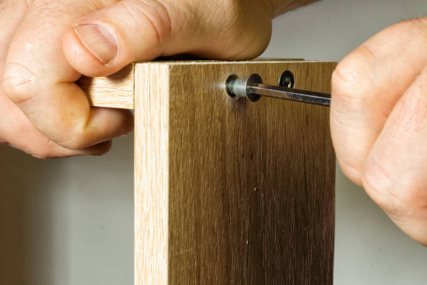 Installation in the socket with the help of a threaded furniture fastener tool stock photo