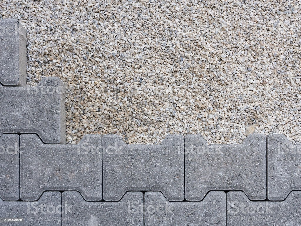 installation of a floor self-locking gray stock photo