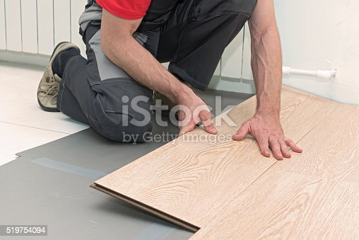 istock Installation of a laminate in the room 519754094