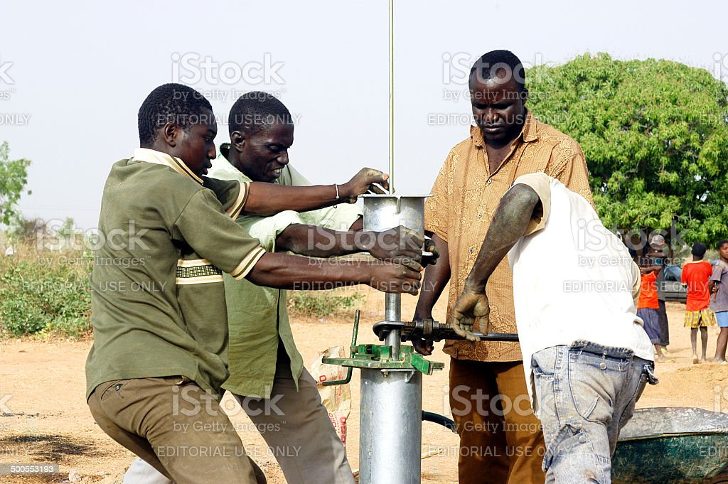 installation of a pump stock photo