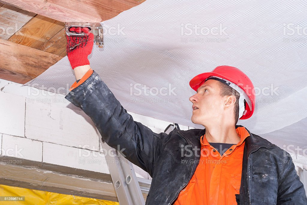 installation of a vapor barrier stock photo