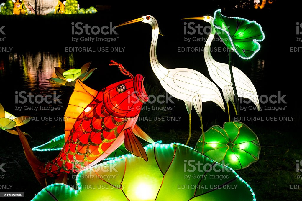 Installation of coy fish and heron lanterns stock photo