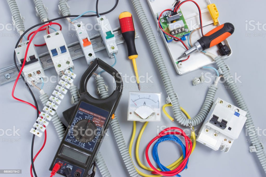 Installation of electrical devices 免版稅 stock photo