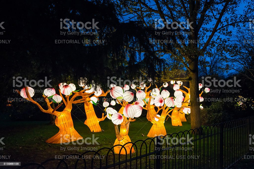 Installation of glowing trees in Chiswick House And Gardens stock photo