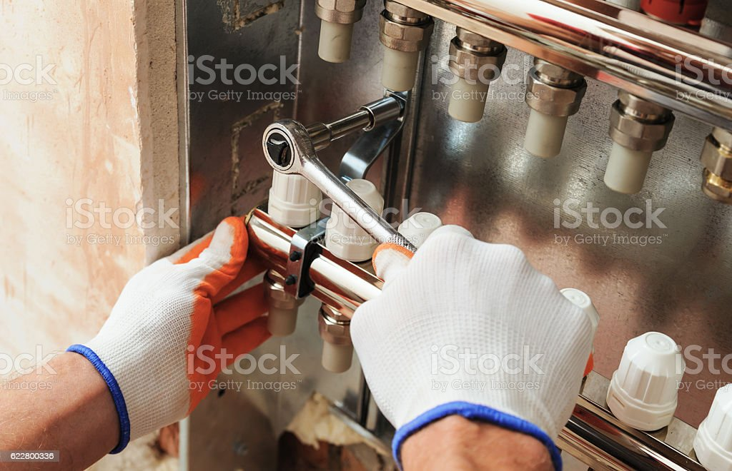 Installation of home heating. stock photo