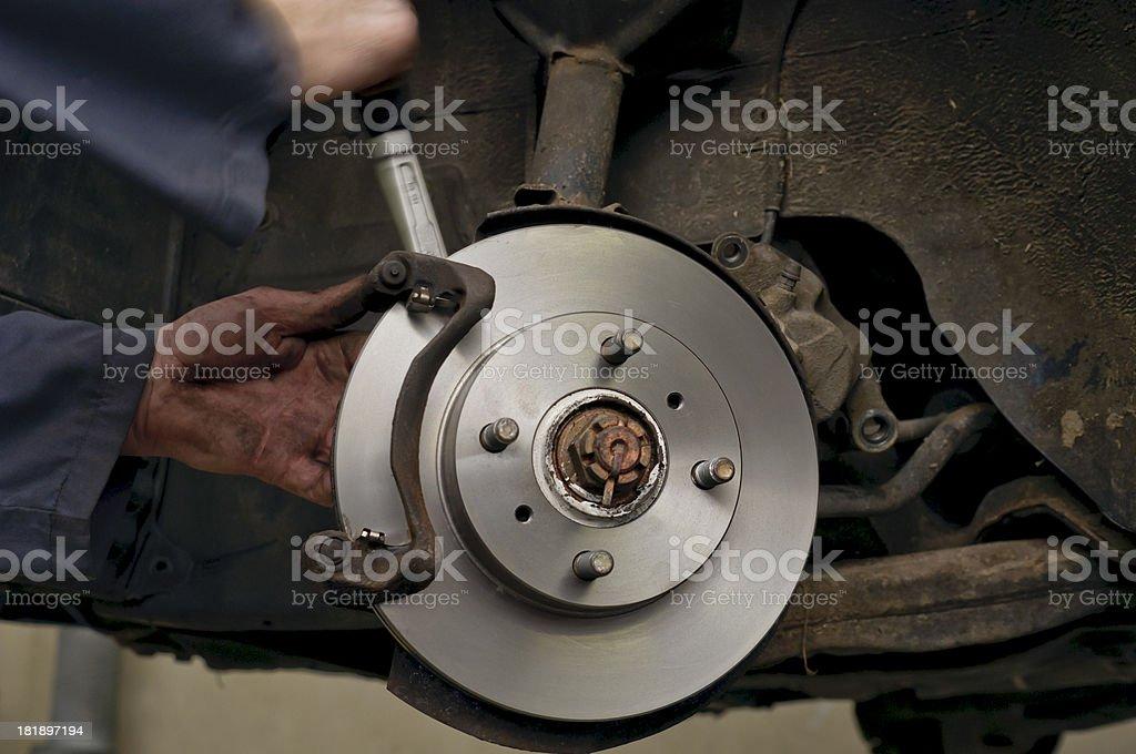installation of new brakes royalty-free stock photo