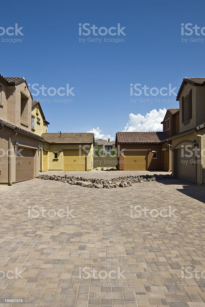 Installation of Pavers for a Driveway stock photo