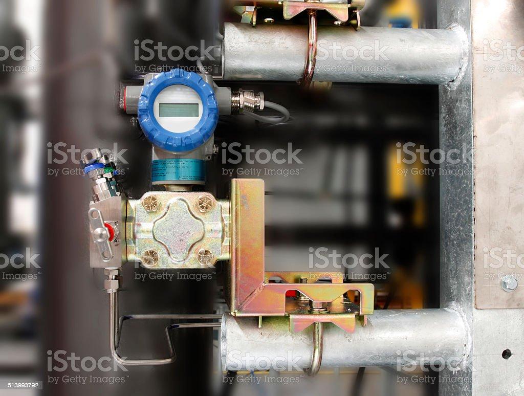 Installation of pressure transmitter,temp transmitter stock photo
