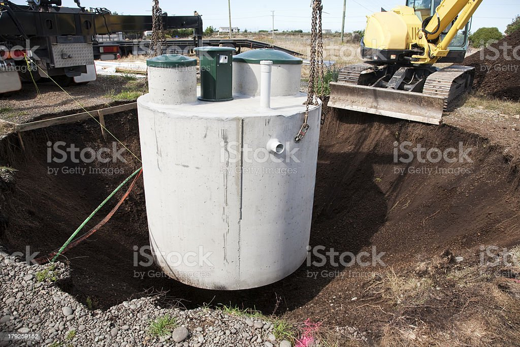 Installation of Septic System royalty-free stock photo