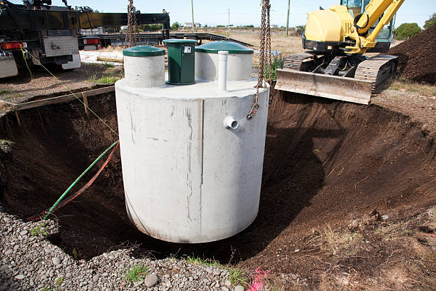 Installation of Septic System stock photo