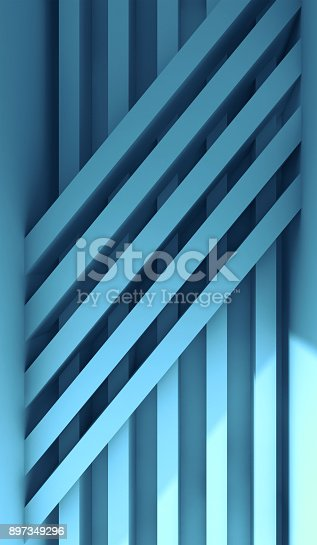 istock Installation of striped beams, vertical 3d render 897349296