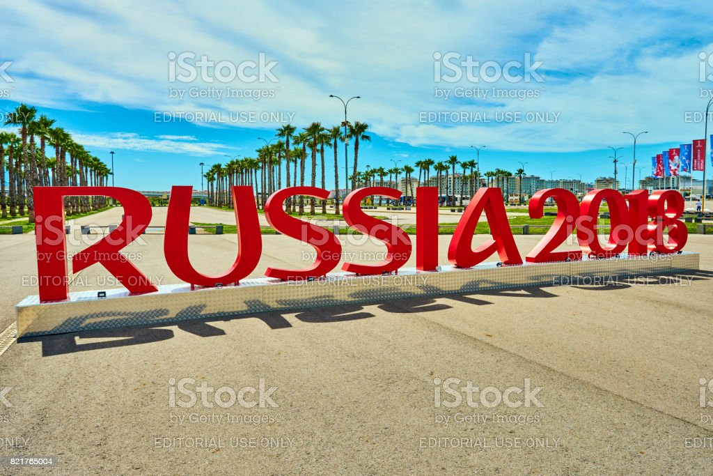 SOCHI, RUSSIA - JUNE 18, 2017: Installation of the inscription 'RUSSIA 2018' symbolizes the FIFA World Cup in the Olympic Park of Sochi stock photo