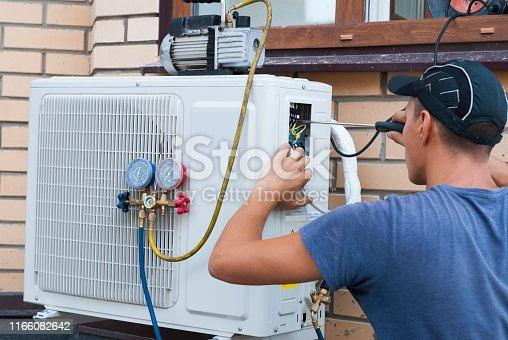 istock installation of the outdoor unit air conditioner 1166082642