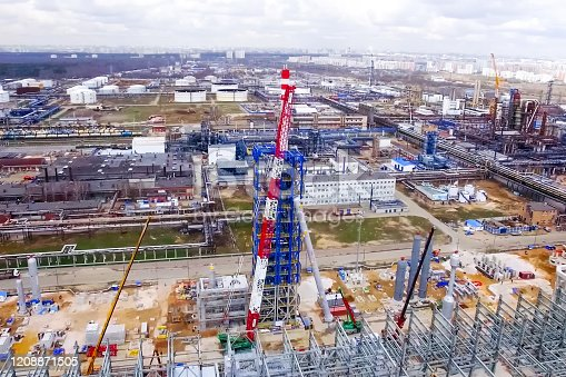 istock Installation of the reforming column at the Moscow oil refinery 1208871505