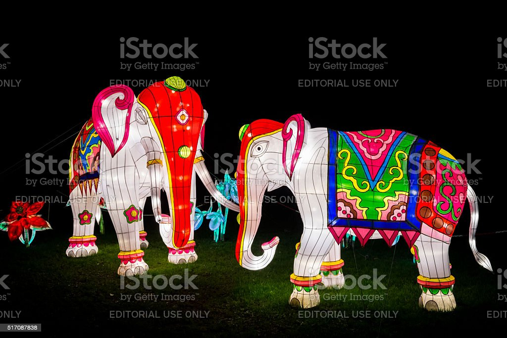 Installation of two colourful painted elephants stock photo
