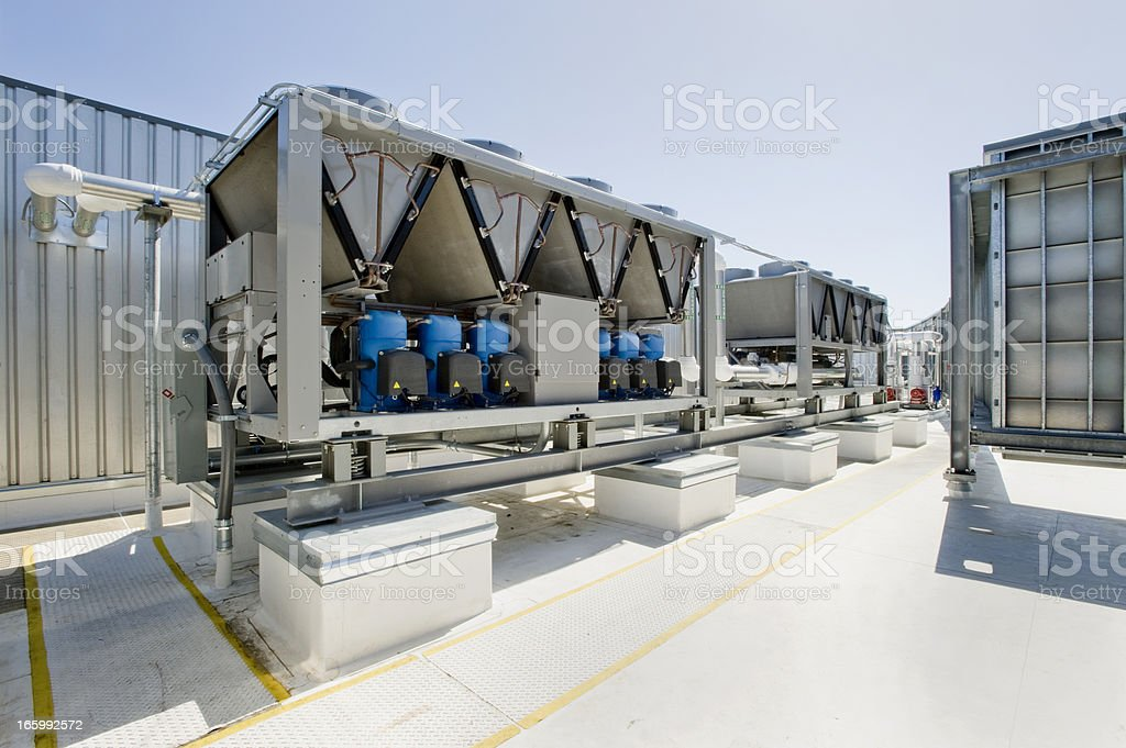 HVAC Installation with Chillers and Compressors stock photo