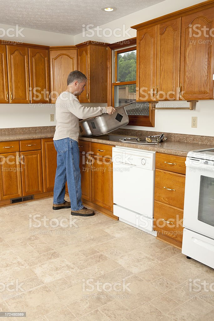 Installing a Kitchen Sink royalty-free stock photo