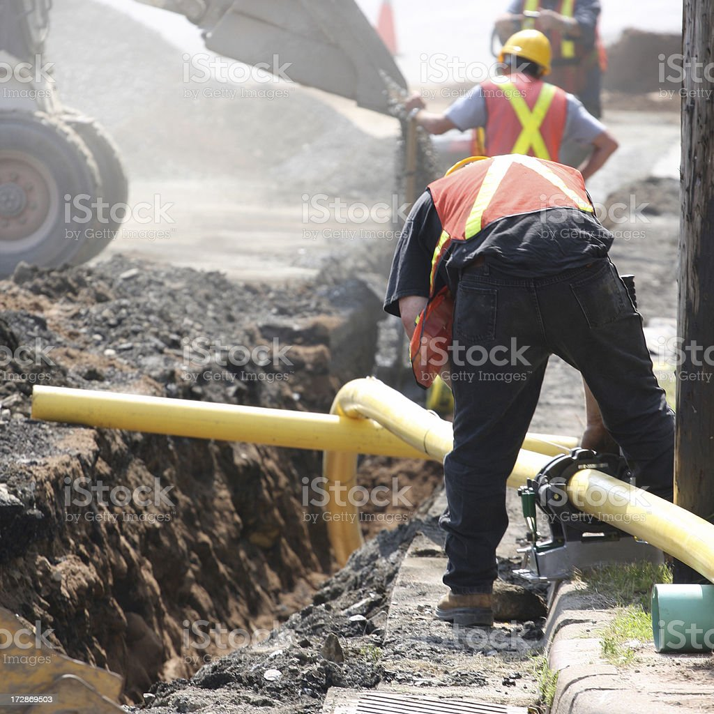 Installing A Natural Gas Pipeline royalty-free stock photo