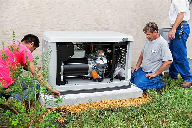 instalar una gran asamblea de emergencia, generador de huracán temporada - generadores fotografías e imágenes de stock