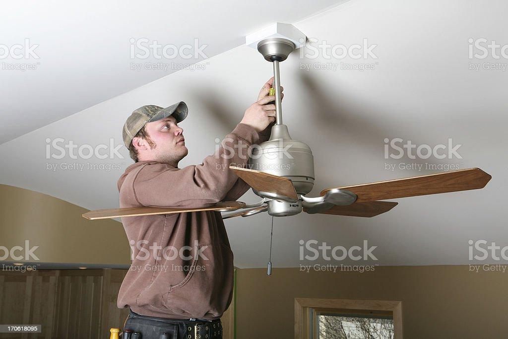 Installing Ceiling Fan stock photo