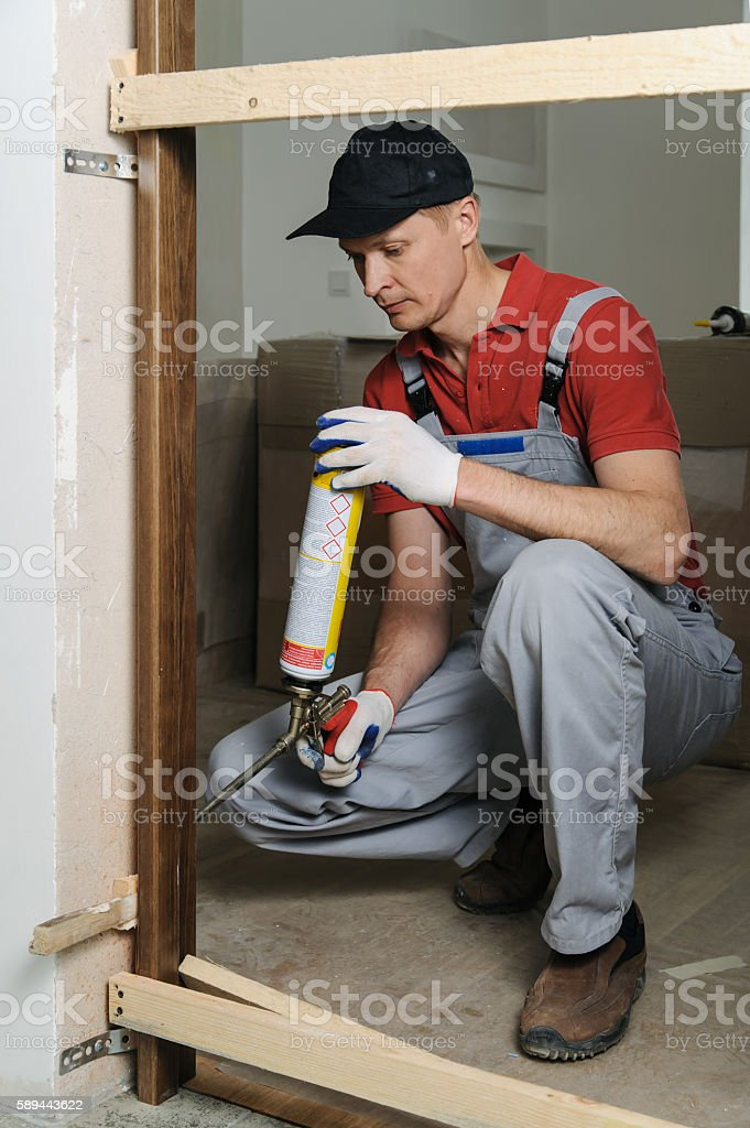 Installing door unit. stock photo