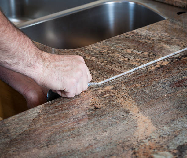 installing granite counter tops - seam stock photos and pictures