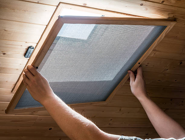 Installing homemade mosquito net on velux window on ceiling Unrecognizable person is installing a wooden homemade mosquito net attached with magnets, front of an opened velux window on ceiling, in home interior in attic, to prevent flying insects from entering. netting stock pictures, royalty-free photos & images