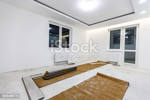 922081754 istock photo Installing light laminate floor with substrate under a laminate on white background 925489774