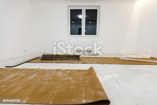 922081754 istock photo Installing light laminate floor with substrate under a laminate on white background 925492028