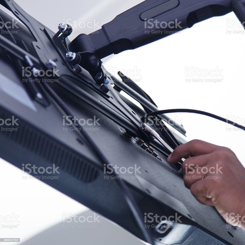 Installing mount TV stock photo