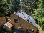 Installing new roof taken from a drone