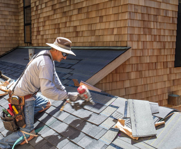 Installing new roof with nail gun stock photo