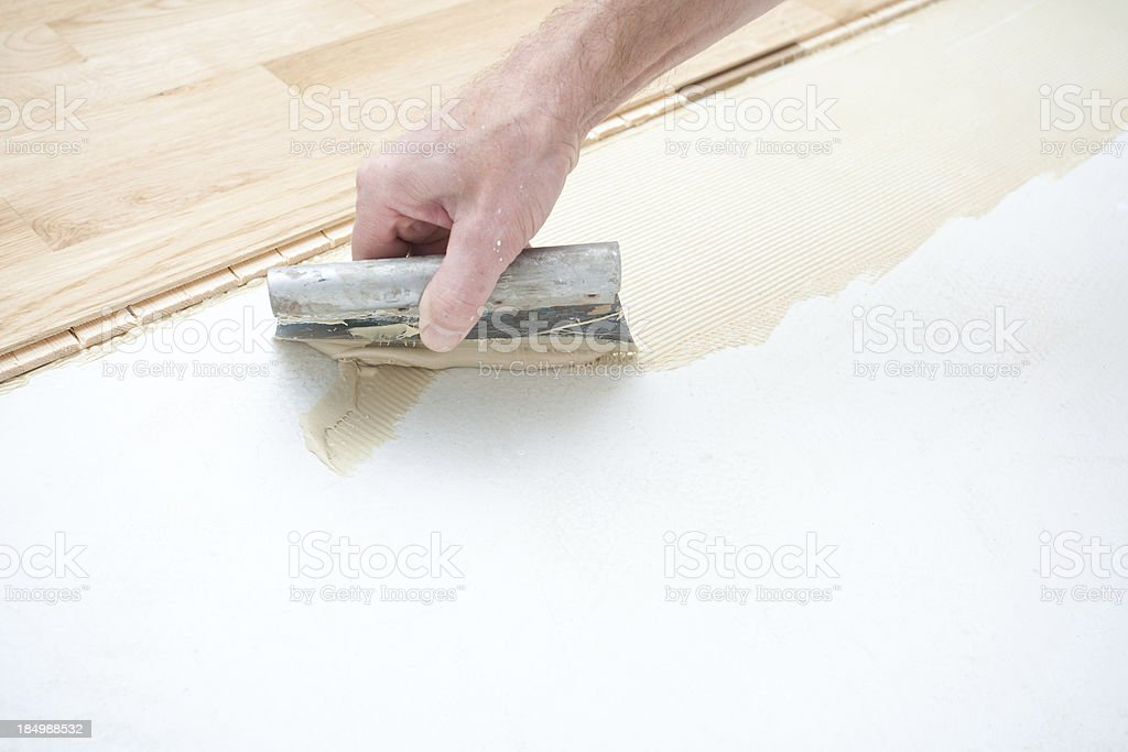 Installing parquet  floor stock photo