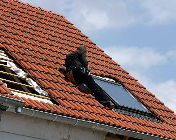 Installing roof windows stock photo