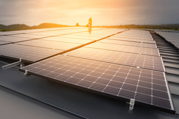 installing solar panels, renewable energy clean and good environment. - solar panel imagens e fotografias de stock