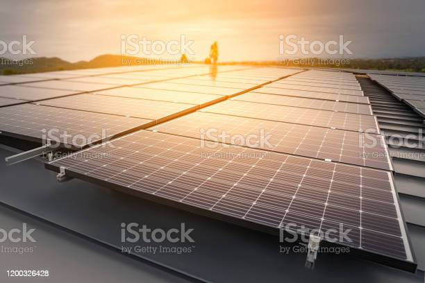 Photo of Installing solar panels, Renewable energy clean and good environment.