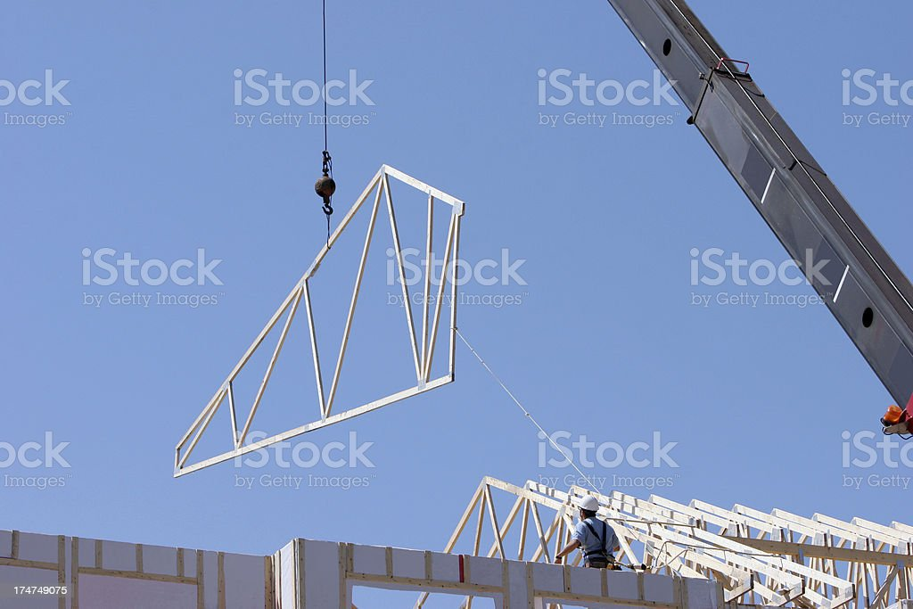 Installing the truss stock photo