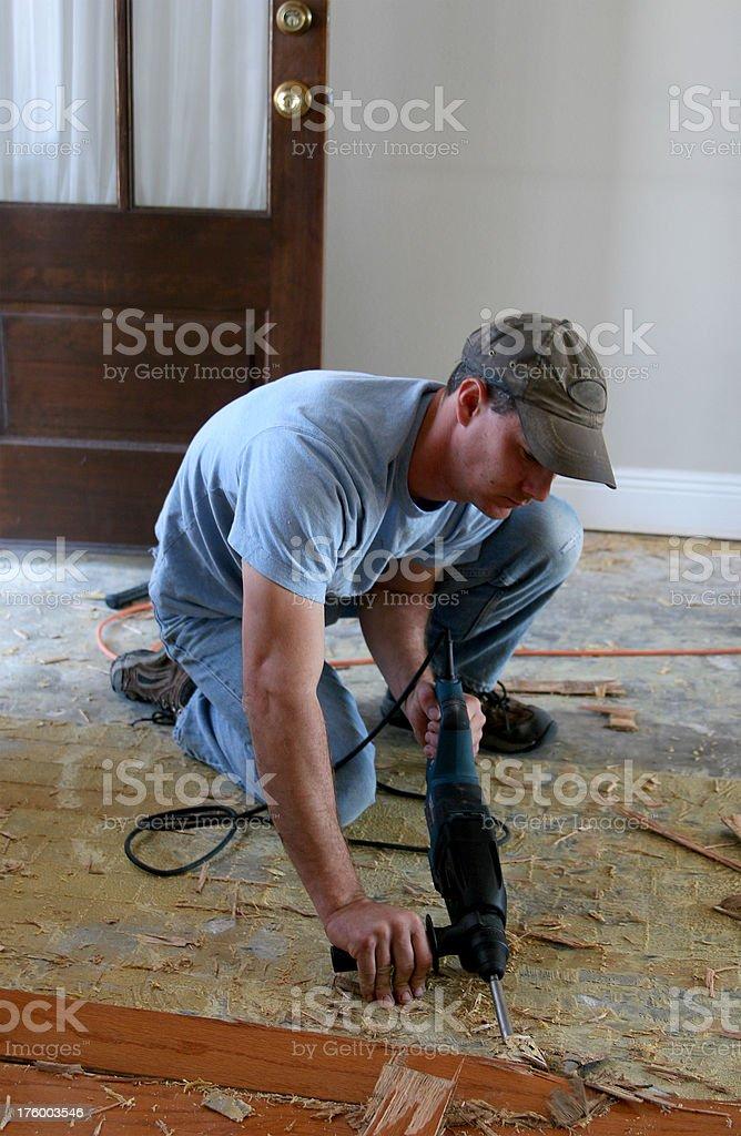 Installing wood floor 1. royalty-free stock photo