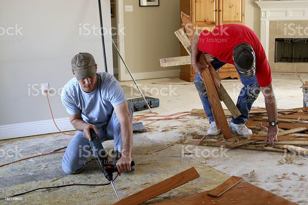 Installing wood floor 3. stock photo
