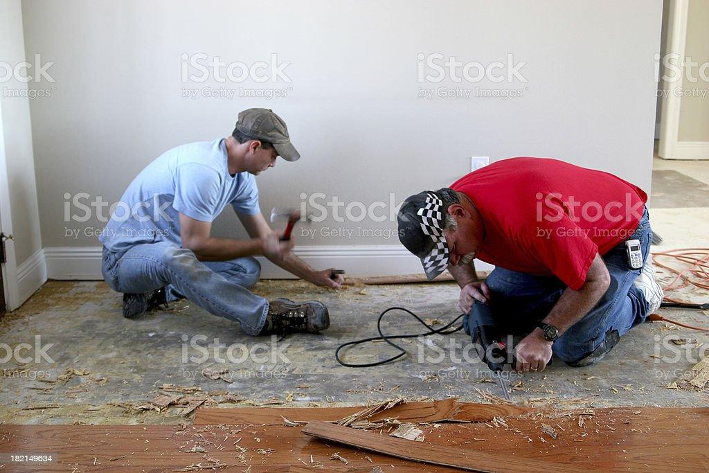 Installing wood floor 4. royalty-free stock photo