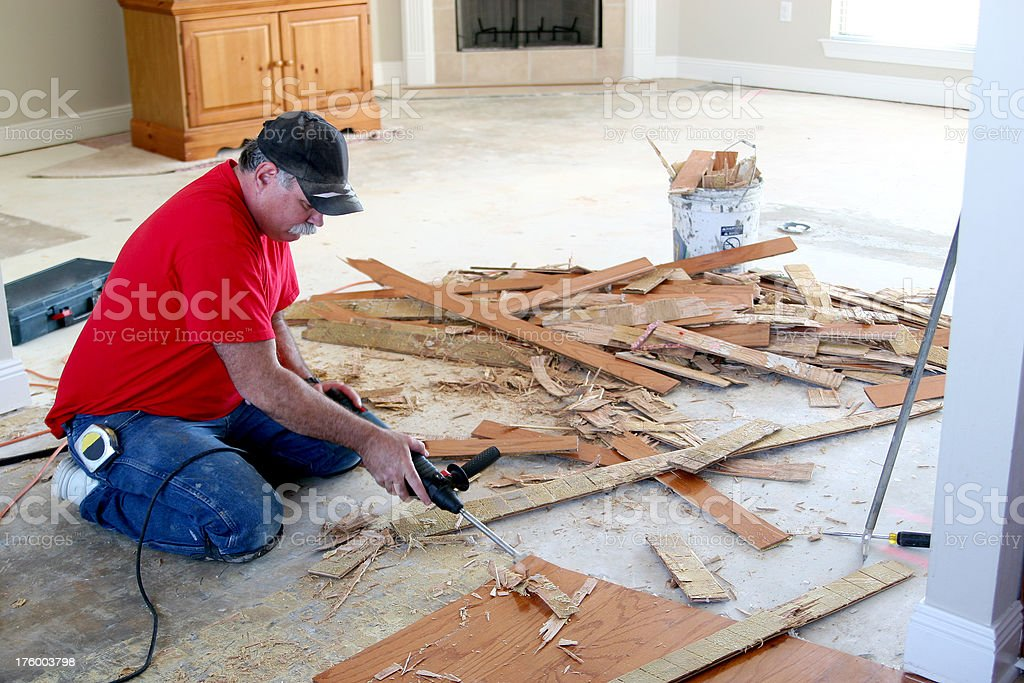 Installing wood floor 5. royalty-free stock photo