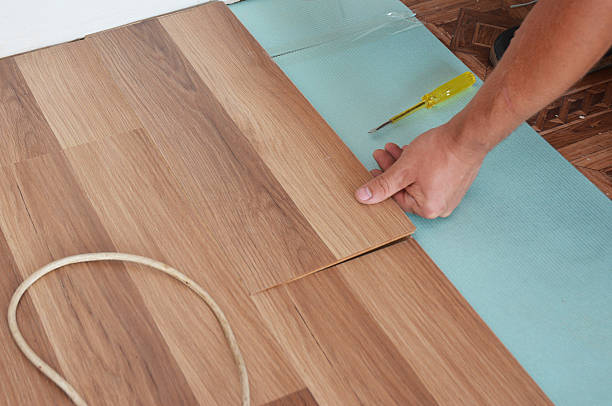 Installing Wooden Laminate Flooring Step By Step Stock Photo