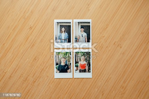 Flat lay montage of instant film photos of friends on vacation in Pisa, Italy.